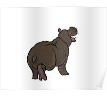 hippo animal drawing Poster