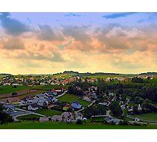 Beautiful village skyline beyond cloudy sky | landscape photography Photographic Print