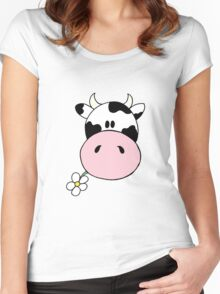 Cow munching flower Women's Fitted Scoop T-Shirt