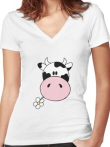 Cow munching flower Women's Fitted V-Neck T-Shirt