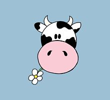 Cow munching flower Womens Fitted T-Shirt