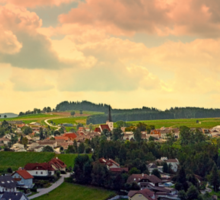 Beautiful village skyline beyond cloudy sky | landscape photography Sticker