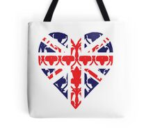 Union Jack Sherlock Wallpaper Heart Tote Bag