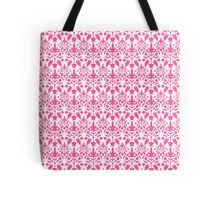 Pink And White Damask Pattern Tote Bag