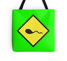 sperm crossing yellow warning sign Tote Bag
