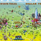 DFW Cartoon Map by Kevin Middleton
