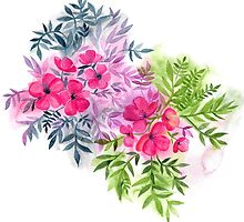 Dual Bouquets - a watercolor floral by micklyn