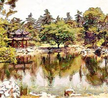 A digital painting of a Pagoda and Pond in a Chinese Garden by Dennis Melling