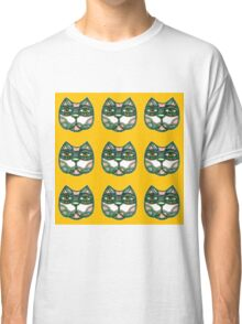 Cats green pattern yellow Classic T-Shirt