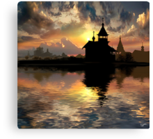 Silhouettes of the Christianity Canvas Print