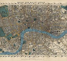 Antique Map of London, England from 1860 by bluemonocle