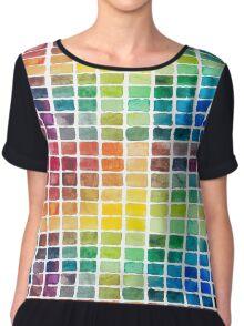 Watercolor Color Squares Chiffon Top
