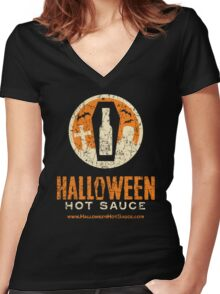 Halloween Hot Sauce Distressed logo Women's Fitted V-Neck T-Shirt