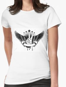 Vector Illustration - Symbol Victory And Wings Womens Fitted T-Shirt