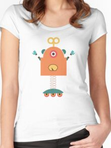 Cute Retro Robot Toy Women's Fitted Scoop T-Shirt