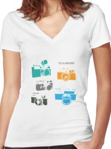 Vintage Cameras - The 35mm Rangefinder Women's Fitted V-Neck T-Shirt