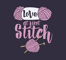 Love at first stitch knitting humor  Womens Fitted T-Shirt