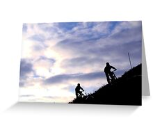 Mountain bikers on skyline Greeting Card