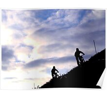 Mountain bikers on skyline Poster