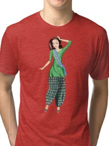 Dancing Bollywood Indian Girl Tri-blend T-Shirt