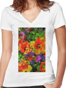 Mashed Up Tulips Women's Fitted V-Neck T-Shirt