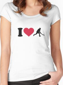 I love Field hockey player Women's Fitted Scoop T-Shirt