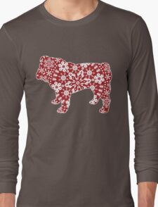 Christmas Snowflakes Bulldog Long Sleeve T-Shirt