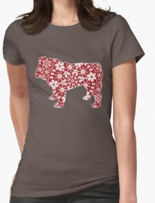 Christmas Snowflakes Bulldog Womens Fitted T-Shirt