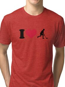 I love Floorball player Tri-blend T-Shirt