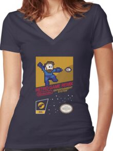 RGR NES Label  Women's Fitted V-Neck T-Shirt