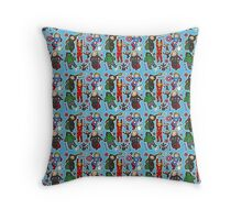 Assemble Tote (blue) Throw Pillow