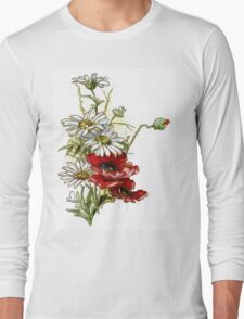 Vintage Floral Daisies and Poppies Long Sleeve T-Shirt