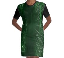 Green Lights - Matrix effect Graphic T-Shirt Dress