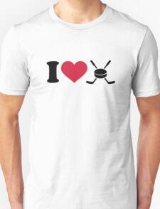 I love hockey sticks puck T-Shirt