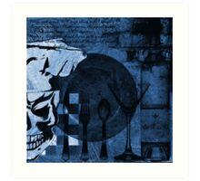 Skull Chef Art: Blue Art Print