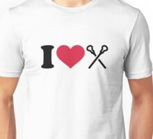 I love Lacrosse sticks Unisex T-Shirt