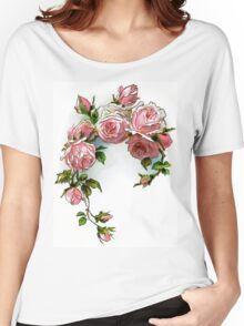 Vintage Pink Rose Floral Women's Relaxed Fit T-Shirt