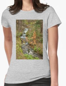Rusty The Pine Tree and The Flowing Stream Womens Fitted T-Shirt