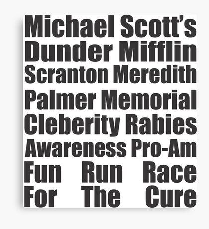 Dunder Mifflin Fun Run Race For The Cure Canvas Print