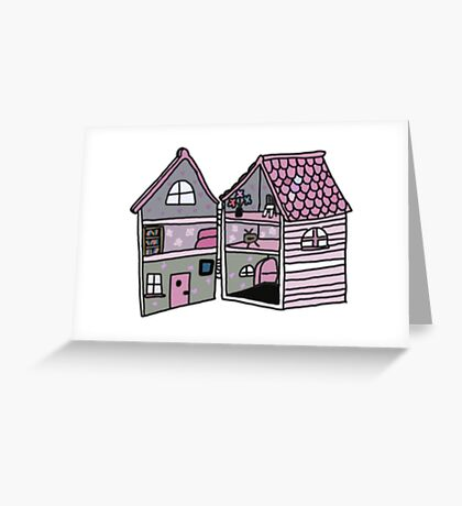 cute pink dollhouse Greeting Card