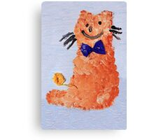 ginger cat with bow Canvas Print