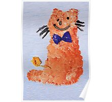 ginger cat with bow Poster