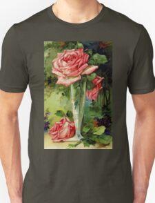 Vintage Vase and Pink Roses Unisex T-Shirt