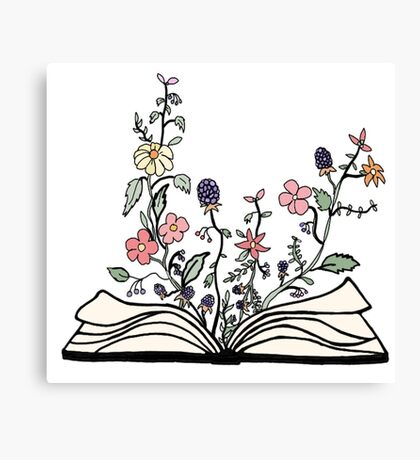 flowers growing from book  Canvas Print