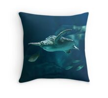 Green Sea Turtle Painting Throw Pillow