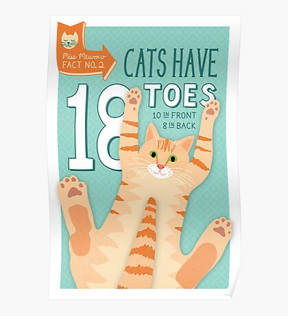 Cats have 18 Toes Poster
