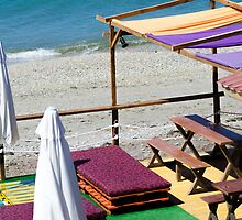 Terrace bar at the beach. by ZuissellArt