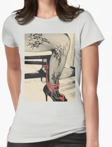 Bodystocking, Ropes and Tied to Chair Girl BDSM Side Womens Fitted T-Shirt