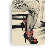 Bodystocking, Ropes and Tied to Chair Girl BDSM Side Canvas Print