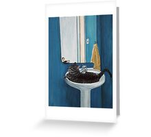 Cat in a Sink Greeting Card